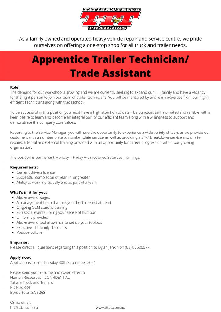 Apprentice Trailer Technician